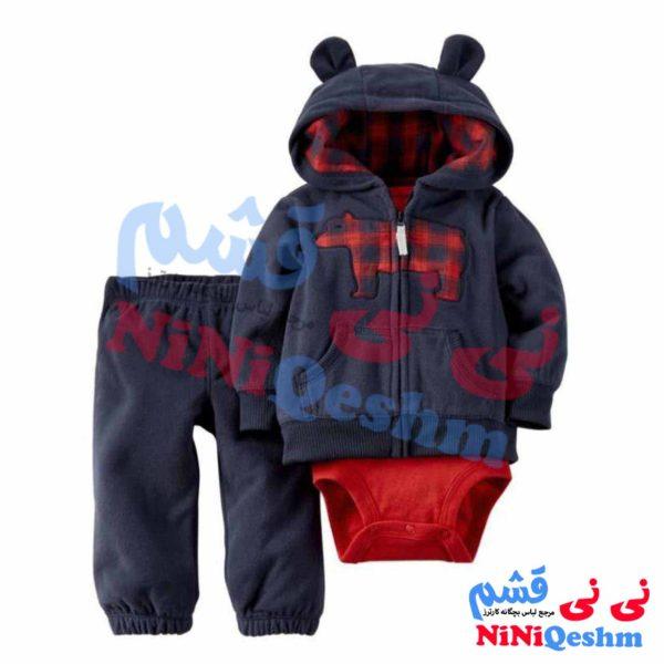 سوییشرت کلاهدار پسرانه طرح خرس چهار خانه قرمز با رنگ سرمه ای پارچه فوتر ضخیم مناسب پاییز و زمستان