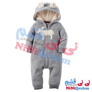 لباس سرهمی نوزادی فوتر ضخیم زمستانی مدل گوزن کرم برند کارترز اصل