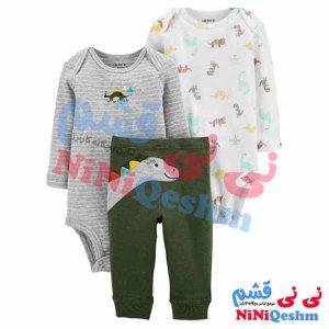 لباس پسرانه نوزادی و بچگانه کارترز سه تکه دو بادی شلوار مدل دایناسور