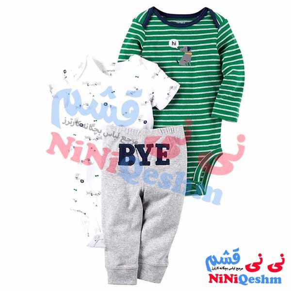 ست لباس پسرانه نوزادی و بچگانه کارترز دو بادی و شلوار طرح بای رنگ سبزو سفید