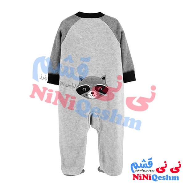 سرهمی جوراب دار نوزادی کارترز طرح راکن پسرانه رنگ خاکستری نوک مدادی