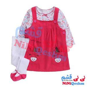 ست پیشبندی نوزادی و بچگانه جوراب شلواری رنگ سرخابی و سفید