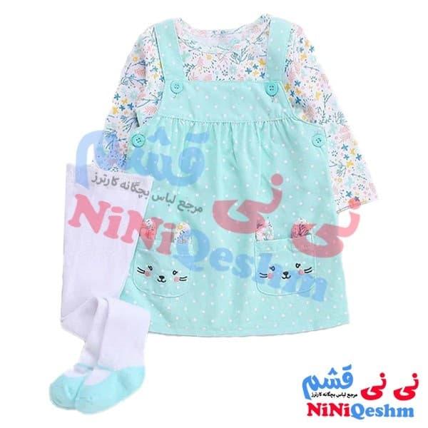 ست لباس دخترانه کارترز پیشبندی با جوراب شلواری نوزادی و بچگانه رنگ آبی و سفید