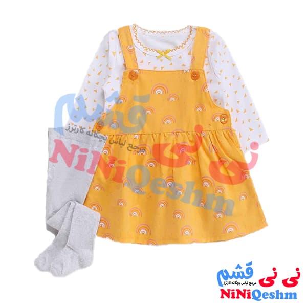 لباس دخترانه کارترز تیشرت سارافون جوراب شلواری رنگ زرد مدل رنگین کمان