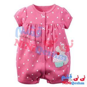 رامپر نوزادی و بچگانه کارترز مناسب دختر رنگ سرخابی با طرح موش خوشگل و استایل شیک
